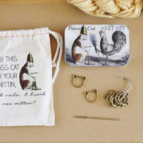 Kit para tejer con caja y marcadores de gato Fireflynotes Knitting Kit notions tin cat stitch markers