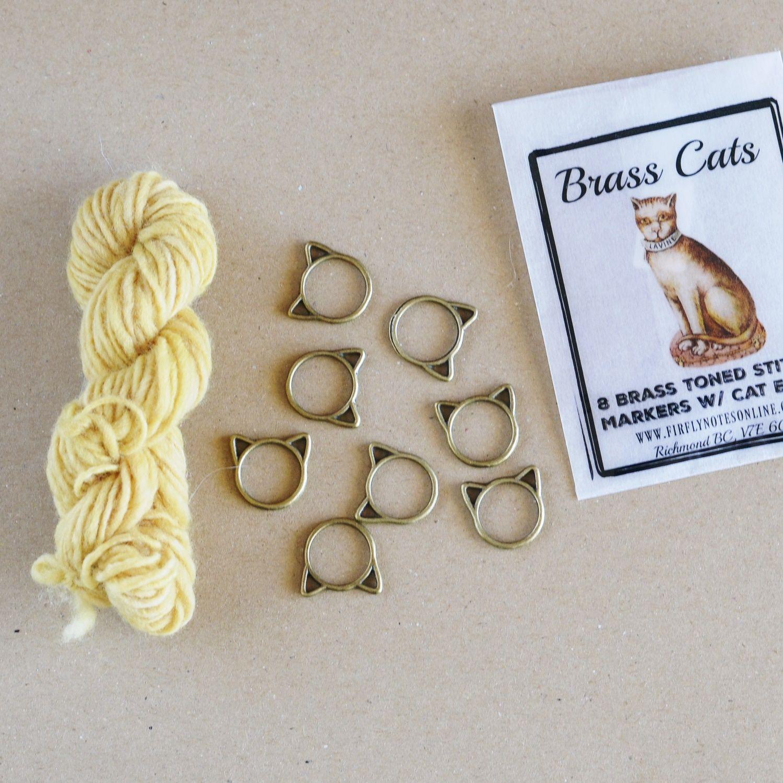 Marcador de puntos gato brass cat stitch marker Fireflynotes