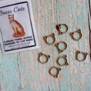 MArcador cabeza de gato / Brass cat stitch marker